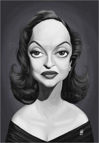 Rob Snow | caricatures - Bette Davis art | decor | wall art | inspiration | caricature | home decor | idea | humor | gifts