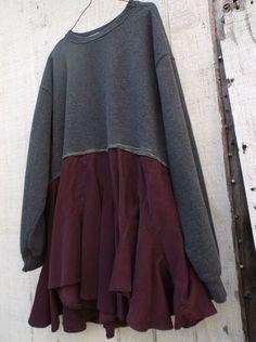 romantic Sweatshirt tunic / Upcycled clothing / Patchwork shirt / Funky Tunic Cotton Dress / Eco Shirt / Artsy Dress by CreoleSha
