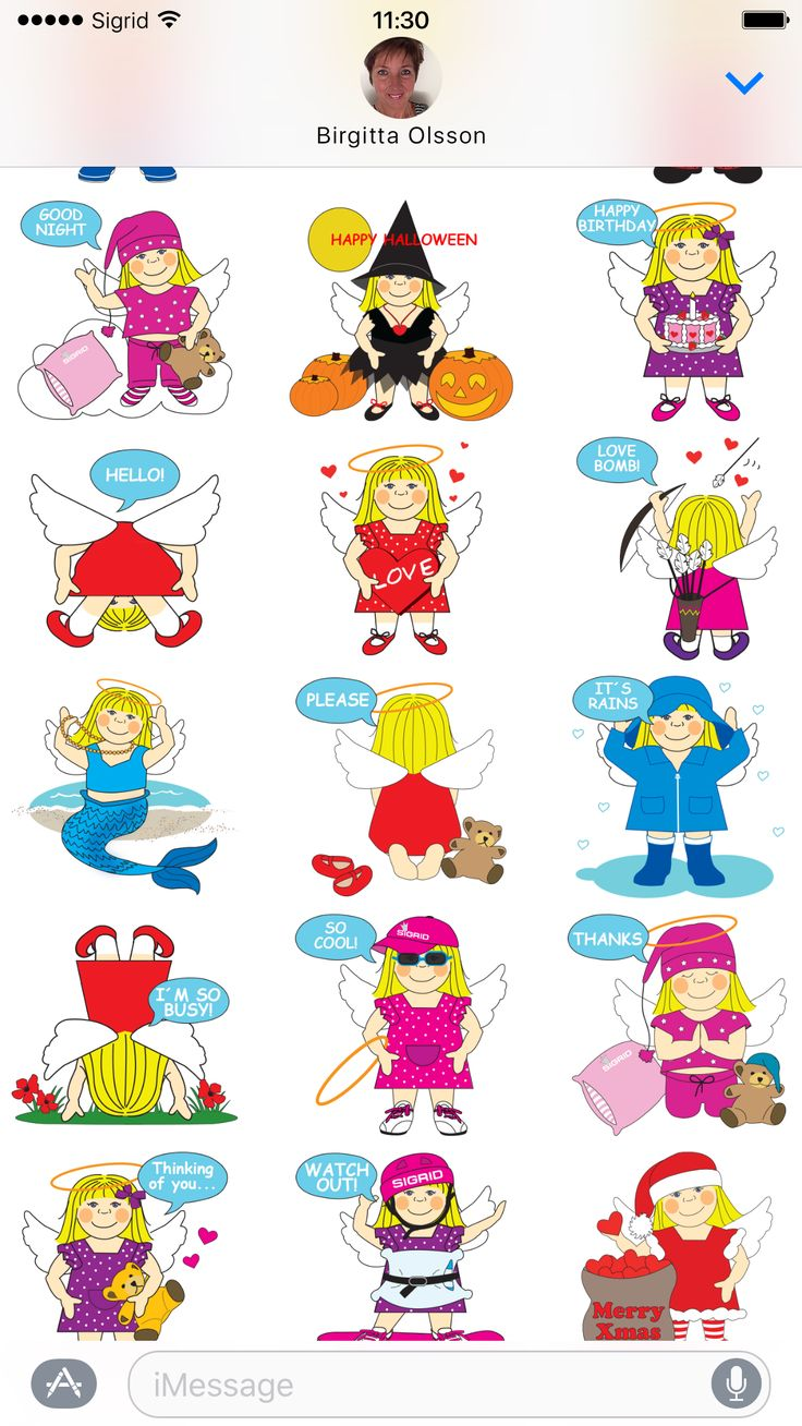 "Stickers pack - iPhone, iPad ""Sigrid the Little angel"" Buy the stickers at App Store  Illustrator: Birgitta Olsson"