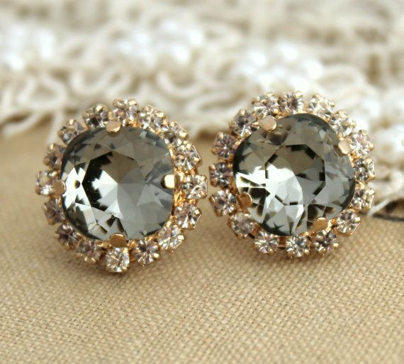 Black diamond Smoky Gray Crystal Rhinestone stud earring - 14k 1 micron Thick plated gold post earrings real swarovski rhinestones .