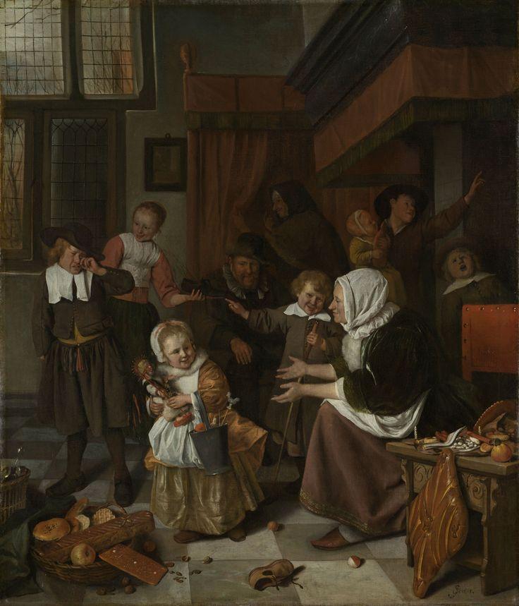 In het schilderij is te zien hoe een familie in huiselijke sfeer Sinterklaasavond viert. Het is een typisch Sinterklaasfeest met cadeaus en snoepgoed. Kennelijk was snoepgoed in de vorm van de Sint in de 17e eeuw al gebruikelijk. Volgens de traditie krijgen kinderen met Sinterklaas cadeaus. Ook op het schilderij van Steen is dit het geval.: