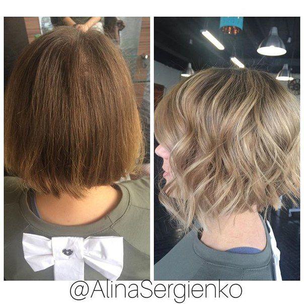 Наконец-то, есть что показать и для девушек с короткими волосами.  Результат на фото, а клиентка и мастер очень довольны цветом волос и образом в целом. Получилось очень красиво!