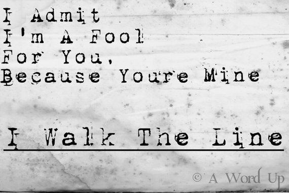 Walk the Line Johnny Cash Lyric  8x10 Print by Damntheframe, $15.00