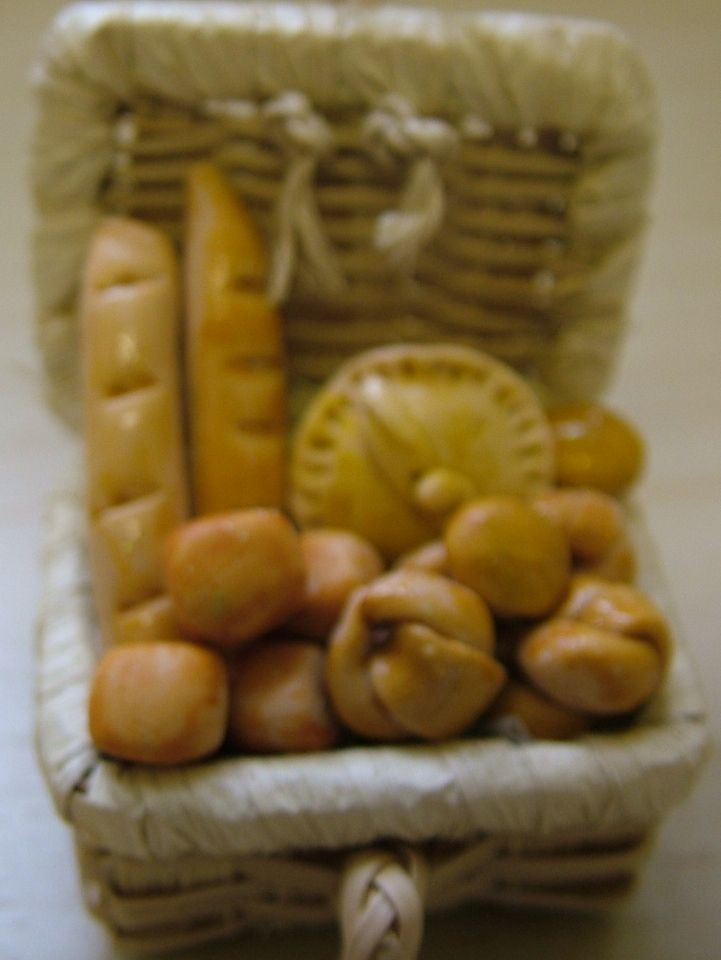 basket of assorted handmade breads and pie www colnedollhouseshop co uk
