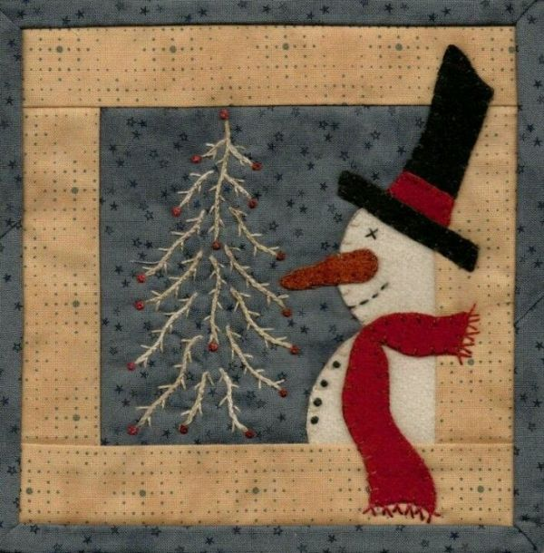 Primitive quilting snowman by Judy55