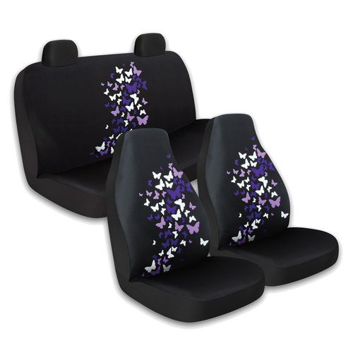 purple seat covers | Who-Rae 3pc Front and Rear Seat Cover Kit, Butterfly Purple