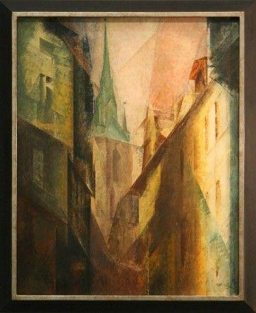 """Galt für mehr als sechzig Jahre als verschollen: Lyonel Feiningers Gemälde """"Roter Turm I"""" von 1930"""