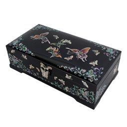 Mother of Pearl Jewelry Box Inlaid with Butterfly Design