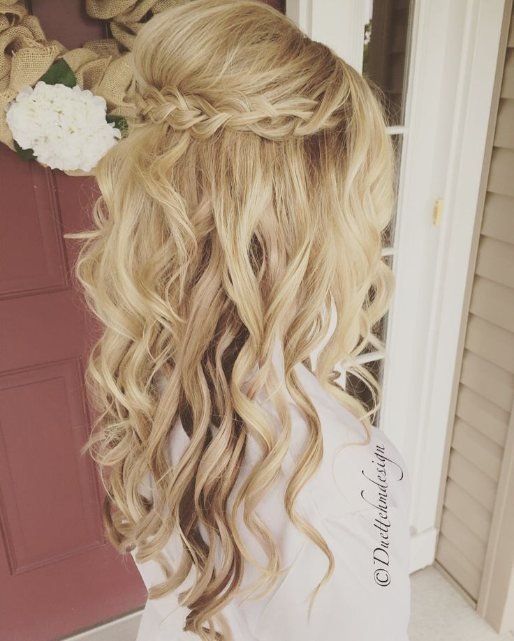 Braided updo / half up half down /romantic / loose curls / blonde hair updo / br...