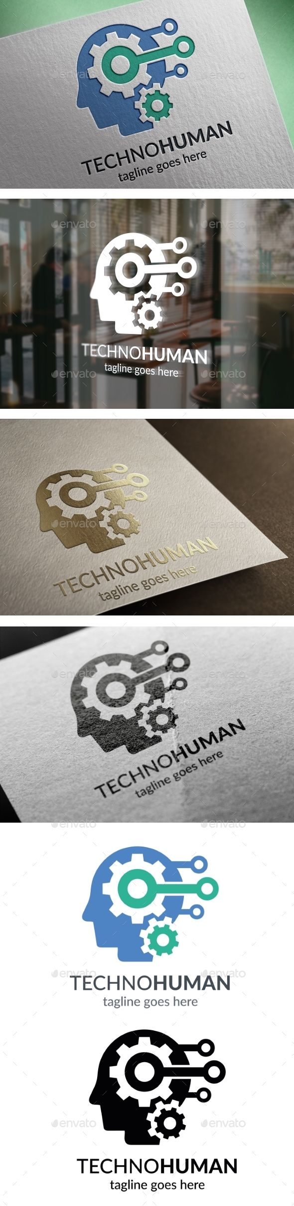 Techno Human #Logo - #Humans Logo #Templates Download here: https://graphicriver.net/item/techno-human-logo/19239549?ref=alena994