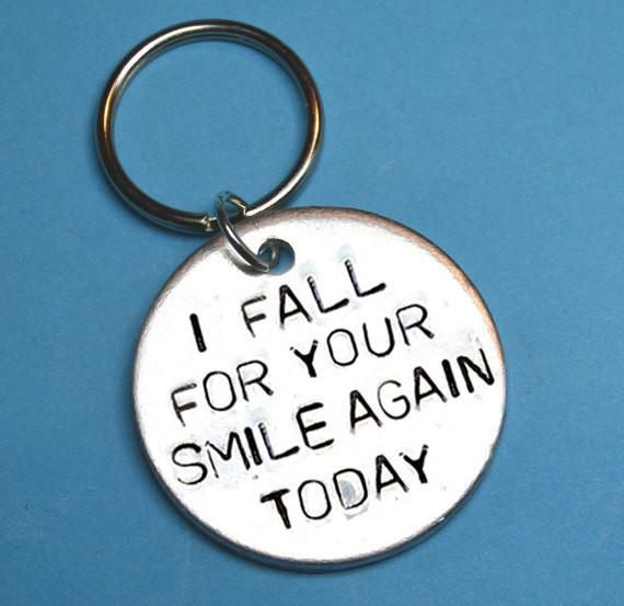 girlfriend boyfriend gift, engravings , hand stamped keychain, anniversary gift