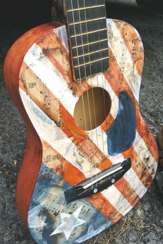Diy Beautiful Guitar Art Idea Decorative Mesh Wreaths Best Acoustic Guitar Guitar Art