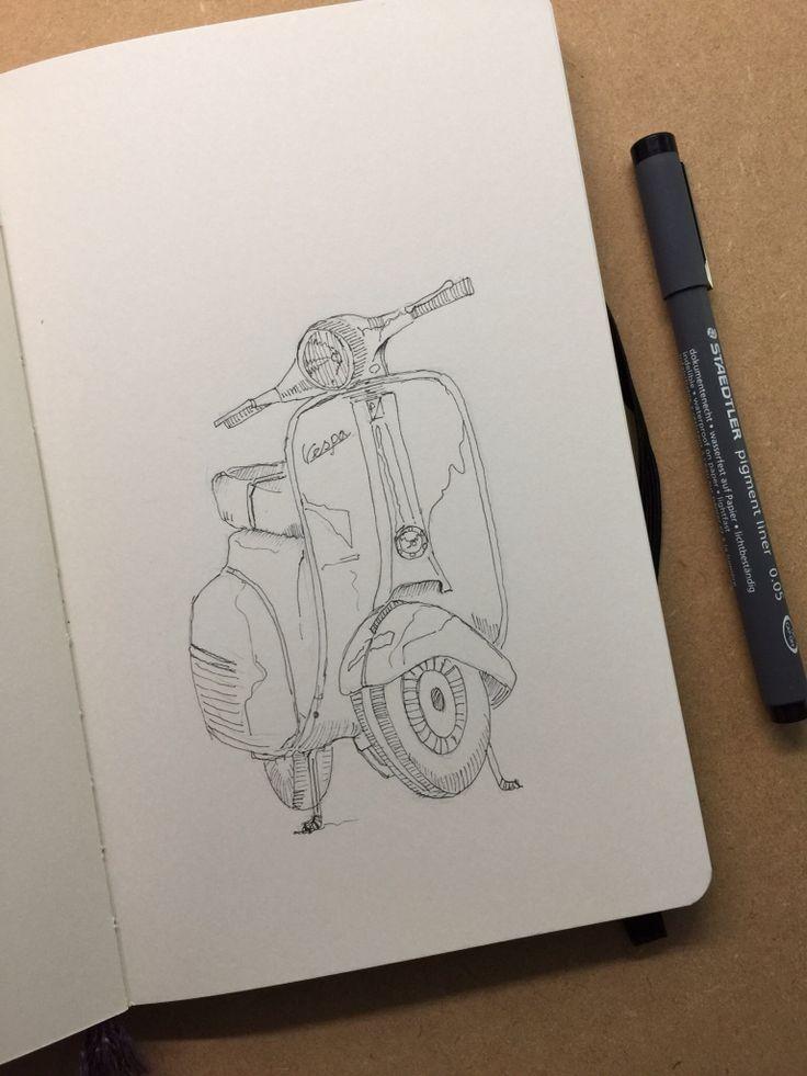Daily Sketch 05.06.15  Vespa #Sketches #moleskine #ink #drawing #art