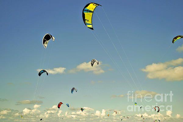 Flying kites in Zeeland in the Netherlands