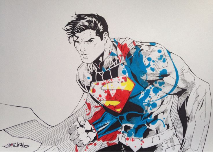 Superman A3 Pen & Coloured Pencil