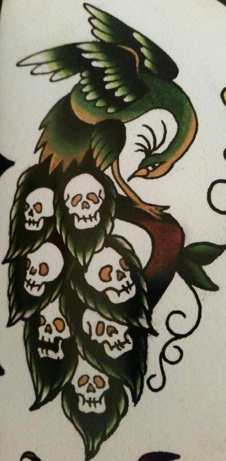"Traditional/old school tattoo, Jeromey ""tilt"" McCulloch, Gentleman Joel, Lunchbox, peacock, skulls"