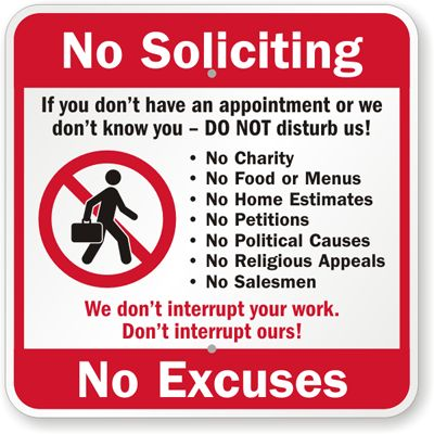 Astounding image with printable no soliciting sign