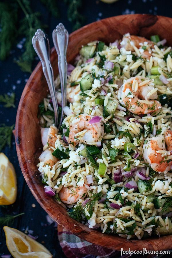 Mediterranean Orzo and Roasted Shrimp with Red Onion, Cucumber, Dill and Feta Cheese
