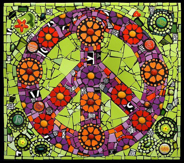 """Peace, Love and Daisies"" mixed media mosaic  Flair Robinson"