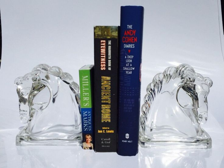 Vintage Art Deco Glass Horse Bookends by VintageVixens1 on Etsy