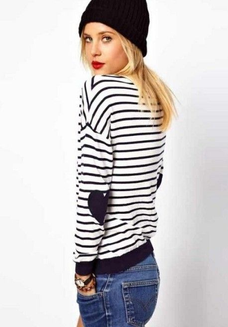 heart elbow patch- classic striped sweater
