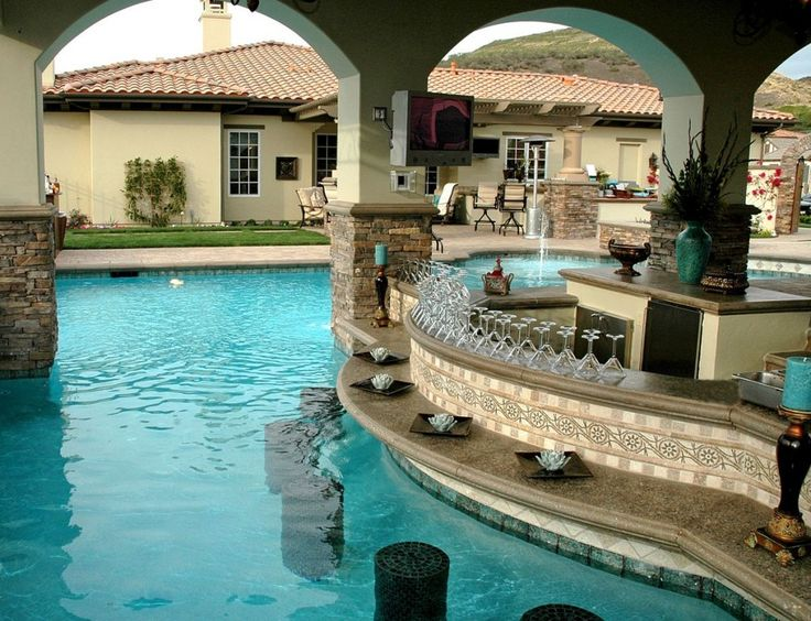 Backyard Designs With Pool And Outdoor Kitchen contemporary pool by cgs design build Designing The Ultimate Outdoor Kitchen More Outdoor Entertaining Ideas