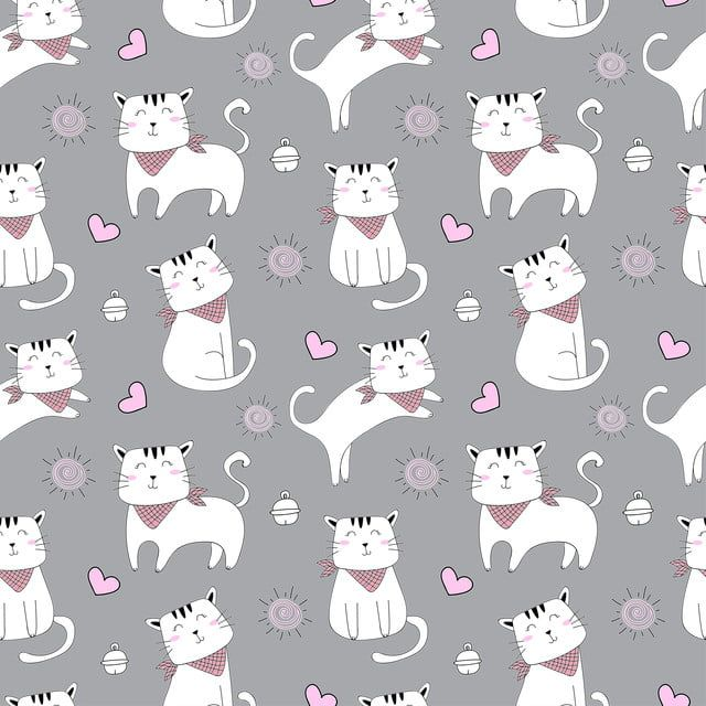 Vector Seamless Pattern With Cute Cat Pattern For Fabric Baby Clothes Background Textile Wrapping Paper And Other Decoration Cute Cartoon Wallpapers Cat Pattern Girls Cartoon Art