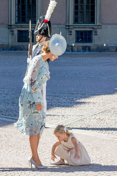 Princess Madeleine of Sweden and Princess Leonore of Swedenarrive for a thanksgiving service on the occasion of The Crown Princess Victoria of...