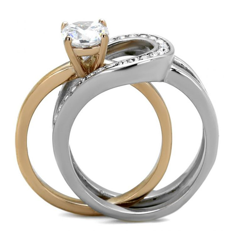 adele two tones rose gold interlocking cz stone wedding ring set - Interlocking Wedding Rings