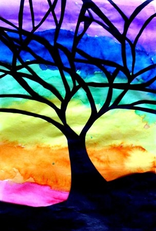 Silhouette Trees by a 4th grade boy