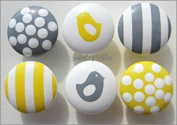 Hand Painted Knobs Dresser Drawer Gray by SweetPetitesBoutique, $7.00