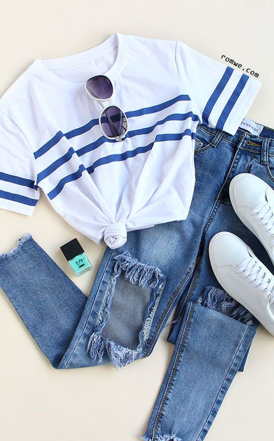 Round Neck Striped Loose T-shirt- minus the sunglasses