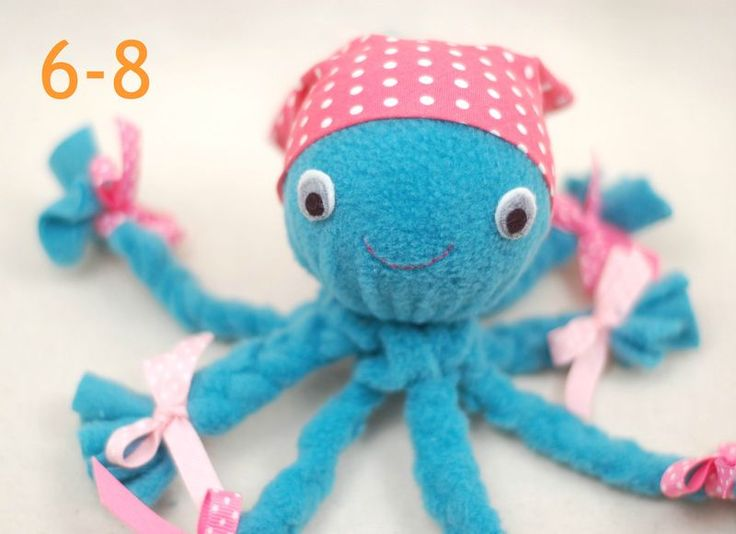 """No-Sew Fleece Octopus Tutorial - While She Naps -16"""" x 16"""" piece of fleece  -styrofoam ball 3"""" in diameter  -3/4"""" wide ribbon  - felt scraps in white, gray, and black  -embroidery floss  -8"""" x 8"""" piece of quilting cotton for the bandana  -string (not pictured)"""