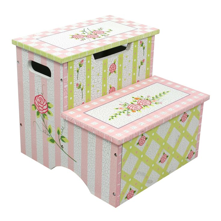 Bring innovative design and quality craftsmanship to your home with this Fantasy Fields' Crackled Rose Step Stool with Storage. The stool features two steps so your little one can reach things that we