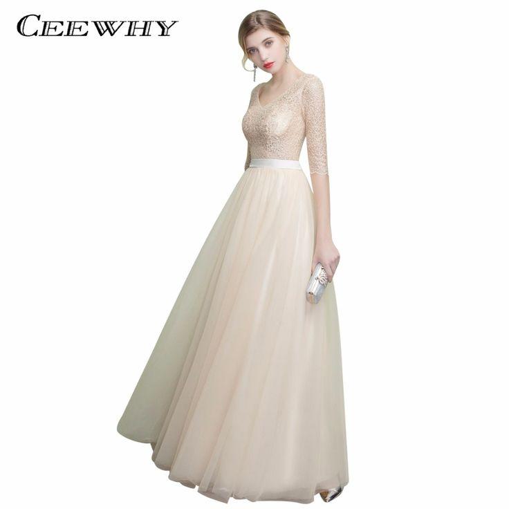 CEEWHY V-Neck Half Sleeve Vestido Elegante Lace Tulle Long Dress Abiye Plus Size Evening Dress Luxury Wedding Party Dress