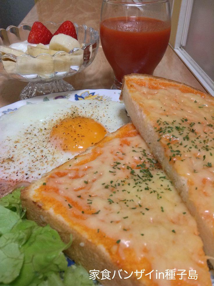 2015/5/17 朝食 ハムエッグとチーズトースト