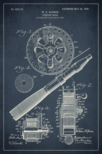 Keep Calm Collection - Fishing Reel Invention Patent Art Poster Print (http://www.keepcalmcollection.com/fishing-reel-invention-patent-art-poster-print/)