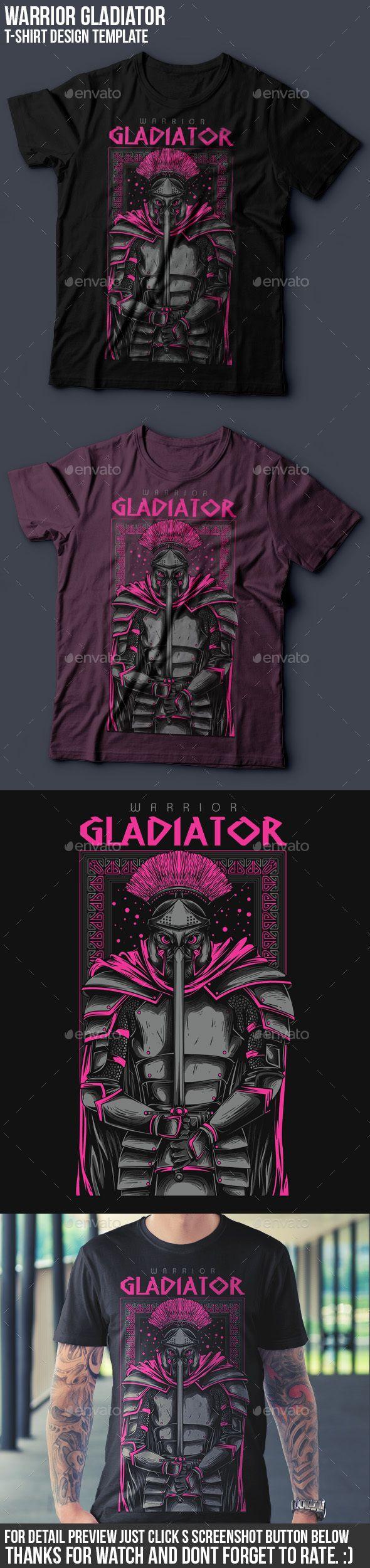 Gladiator Warrior T-Shirt Design - Grunge Designs