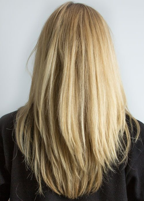 Long straight golden blonde with long razor textured for Dop dop salon soho