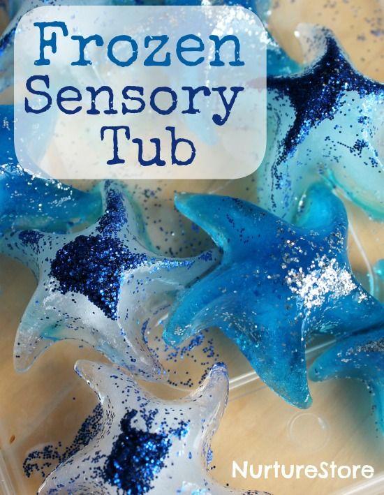 Frozen sensory tub - plus extra frozen activities, ice sensory play tub, winter sensory activities
