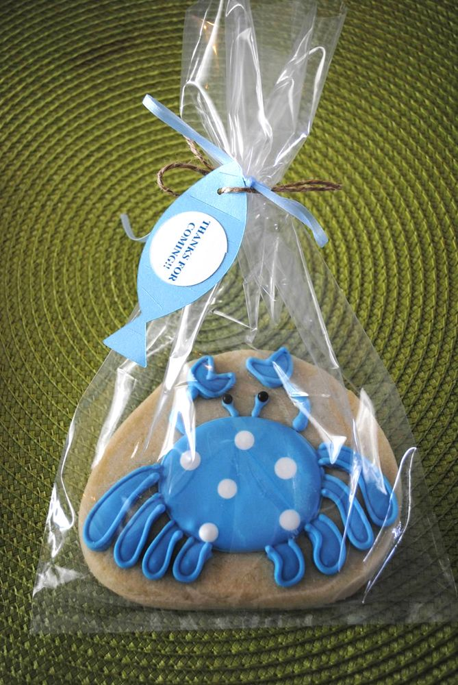 Fish themed baby shower cookie favor diy baby shower for Fishing themed baby shower