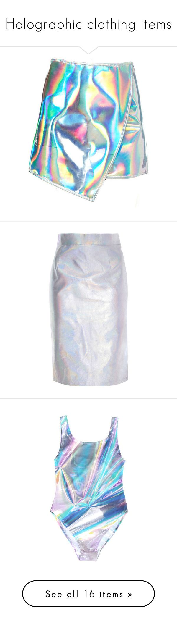 """""""Holographic clothing items"""" by luxuriouslyclassy ❤ liked on Polyvore featuring skirts, silver, hologram skirt, silver skirt, high rise pencil skirt, knee length pencil skirt, high waisted knee length skirt, swimwear, one-piece swimsuits and 1 piece swim suit"""