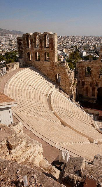 The Odeon of Herodes Atticus Theater in Athens ~ was built at the base of the Acropolis in about 161 A.D. by Roman philosopher Herodes Aticus, Greece,  Photo by Paolo Gamba