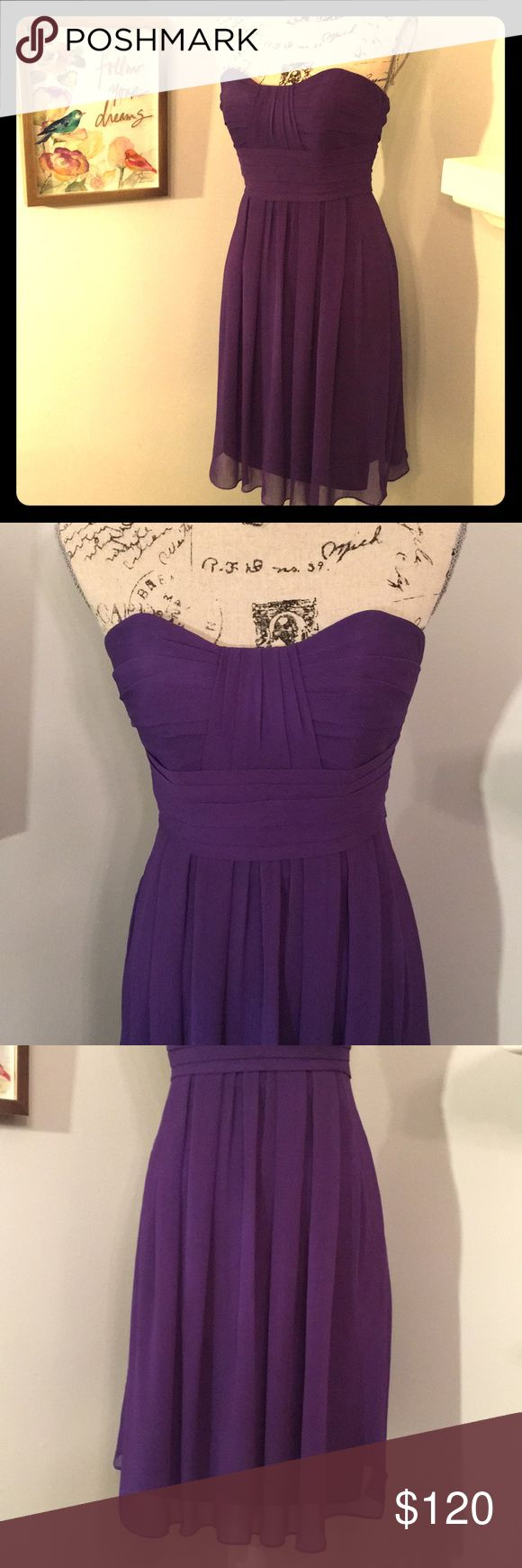 Priscilla of Boston Bridesmaid Dress Size 0 Beautiful and Flowing Bridesmaid dress by Priscilla of Boston is the prettiest royal purple color. It comes with removable spaghetti straps that snap in or out. It has a built in Bra/Rib strap to help keep your top in place if worn strapless.   This dress has been worn one in a wedding. It is very clean with no stains, tears or other issues. Looks and wears like new. It has been stored in a pet free, smoke free home.   Size 0 I am a 32B bra with a…