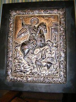 Prachtige Zilveren Oude Griekse Handgemaakte Icoon in Lijst