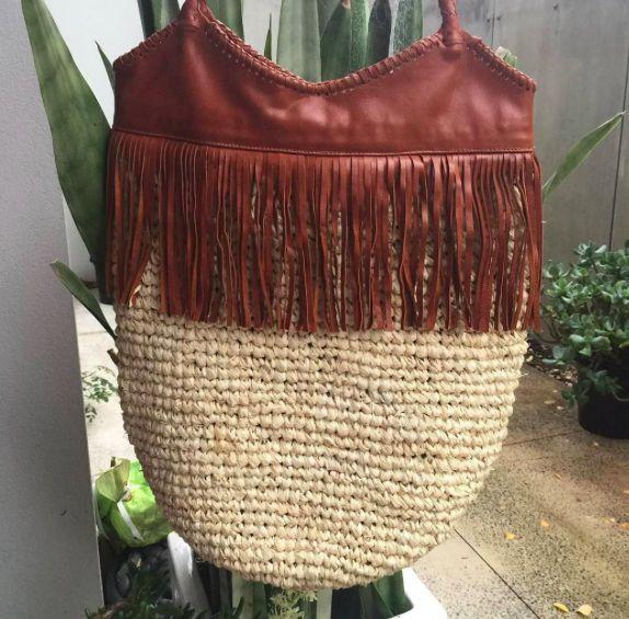 Fringe leather and raffia tote