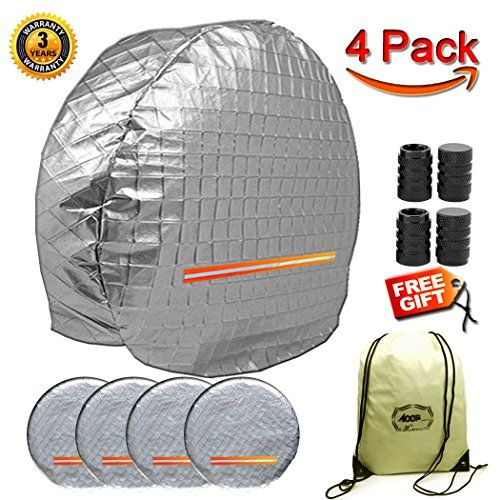 """Tire Covers For RV Wheel 4 Pack, Oxford Waterproof UV Reflective Safety Tire Protectors, Fits 27"""" to 29"""" Wheels, Gift Storage Bag Tire Valve Cap Set of 4 - Aluminum film thick tire cover, to prevent tire aging,Reduce expensive tire changes!Reduce the risk of punctures, safer!Features:Tire cover made of waterproof aluminum material, thick cotton lining, with excellent anti-UV, fading, mildew, tear and overall wear capacity, durable.Easy to inst..."""