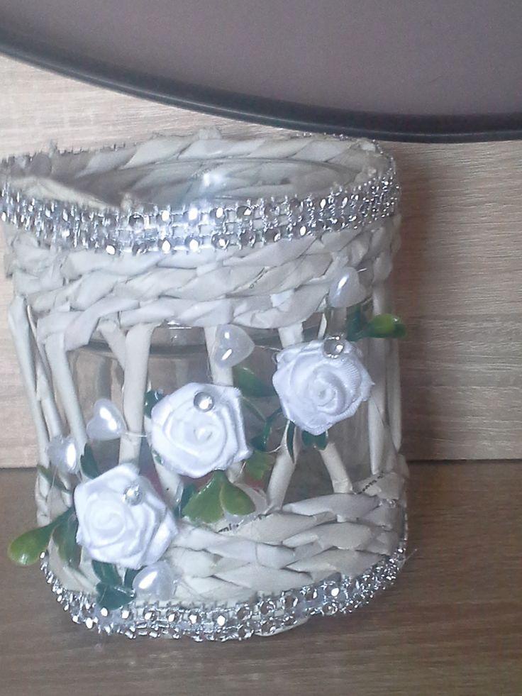 świecznik papierowa wiklina