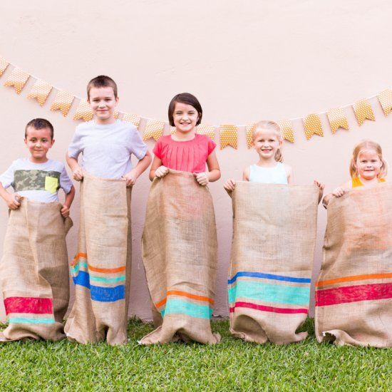 Host a field day party in your backyard with these colorful painted potato sacks!