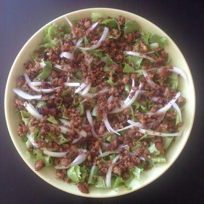 VIDA FELIZ: na Horta: Receitas das Colheitas: Salada de ALFACE ICEBERG com Carne Picada e Tostada